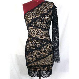Bebe XS Black Lace Illusion One Shoulder Dress